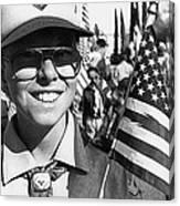 Boy Scout Veteran's Day Parade Tucson Arizona 1990 Black And White Canvas Print