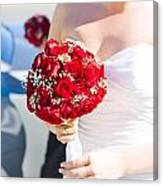 Bride Holding Red Rose Flower Bunch Canvas Print