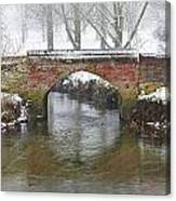 Bridge Over River In A Snowstorm Canvas Print