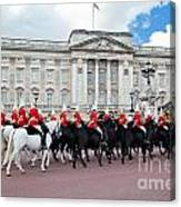 British Royal Guards Perform The Changing Of The Guard In Buckingham Palace Canvas Print