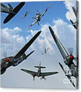 British Supermarine Spitfires Attacking Canvas Print