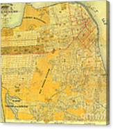 Britton And Reys Guide Map Of The City Of San Francisco. 1887. Canvas Print