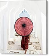 Buddhist Monk Walking Along Temple Canvas Print