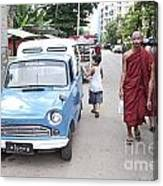 Buddhist Monks In Yangon Street Myanmar Canvas Print