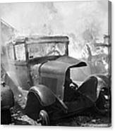 Burning Car Circa 1942  Canvas Print