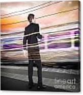 Business Man At Train Station Railway Platform Canvas Print