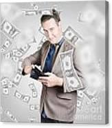 Businessman Under Falling Money. Financial Success Canvas Print