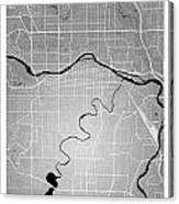 Calgary Street Map - Calgary Canada Road Map Art On Colored Back Canvas Print