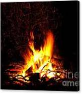 Campfire As A Symbol Of Warmth And Life On Black Canvas Print
