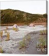 Canoe Tent Camp At Yukon River In Taiga Wilderness Canvas Print