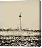 Cape May Lighthouse In Sepia Canvas Print
