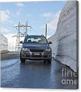 Car And Snow Wall Canvas Print