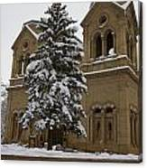 Cathedral Basilica Of St Francis In Snow Canvas Print