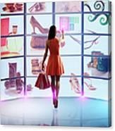 Caucasian Woman Shopping Online Canvas Print