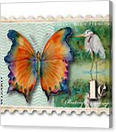 1 Cent Butterfly Stamp Canvas Print