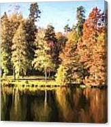 Cezanne Style Digital Painting Beautiful Landscape Of Autumn Trees And Colors Reflected In Lake Canvas Print