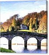 Cezanne Style Digital Painting Bridge Over Main Lake In Stourhead Gardens During Autumn. Canvas Print