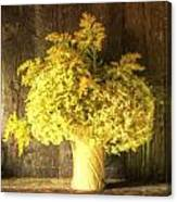 Cezanne Style Digital Painting Retro Style Still Life Of Dried Flowers In Vase Against Worn Woo Canvas Print