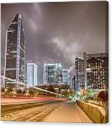 Charlotte Nc Usa Skyline During And After Winter Snow Storm In January Canvas Print