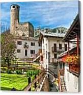 Chatelard Village With Castle Canvas Print