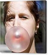 Chewing Gum Lady Canvas Print