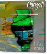 Chicago Illinois Map Watercolor Canvas Print