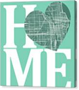 Chicago Street Map Home Heart - Chicago Illinois Road Map In A H Canvas Print