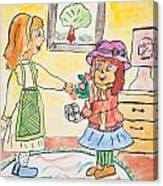Child Drawing Of Mother Giving Gift To Daughter Canvas Print