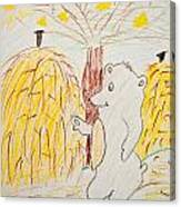 Child Painting Of Bear In Forest Canvas Print