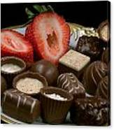 Chocolate On Plate With Strawberry Canvas Print