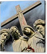 Christ On The Cross With Mourners St. Joseph Cemetery Evansville Indiana 2006 Canvas Print