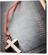 Christian Cross On Bible Canvas Print