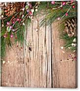 Christmas Berries On Wooden Background Canvas Print