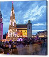 Christmas Time In Warsaw Canvas Print