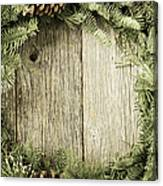 Christmas Wreath With Rustic Wood Background Canvas Print