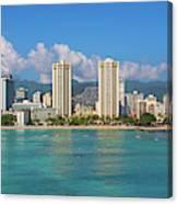City At The Waterfront, Waikiki Canvas Print