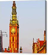 City Hall In Gdansk Canvas Print