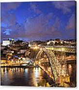 City Of Porto In Portugal By Night Canvas Print