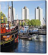 City Of Rotterdam Cityscape In Netherlands Canvas Print