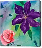 Clematis And The Rose Canvas Print