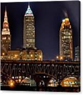 Cleveland Skyline At Night Canvas Print