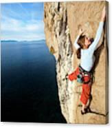 Climber Grabs A Hold While Climbing Canvas Print