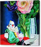 Clown Book And Flowers Canvas Print