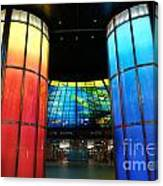 Colorful Glass Work Ceiling And Columns Canvas Print