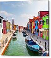 Colorful Houses And Canal On Burano Island Near Venice Italy Canvas Print