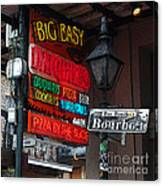 Colorful Neon Sign On Bourbon Street Corner French Quarter New Orleans Poster Edges Digital Art Canvas Print