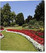 Colourful Flowerbeds In Hyde Park In London England Canvas Print