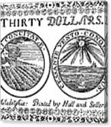 Continental Banknote, 1776 Canvas Print