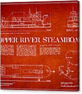 Copper River Steamboats Blueprint Canvas Print