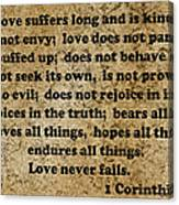 1 Cor. 13 Verses 4 - 7  Canvas Print